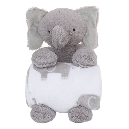 Little Love by NoJo Super Soft Plush and Blanket Elephant, Gray, White Gift Set by NoJo