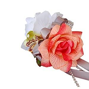 Wrist Corsage – Orange Peach Rose Orchid – Gray Ribbon