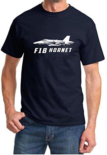Maddmax Car Art F-18 Mcdonnell Douglas Hornet Fighter Outline Design Tshirt 3XL Navy Blue