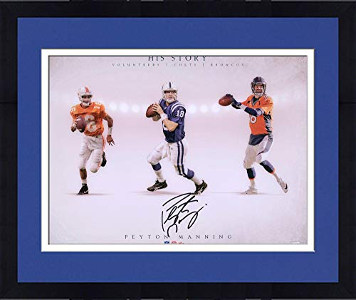 - Framed Peyton Manning Tennessee Volunteers/Denver Broncos/Indianapolis Colts Autographed 16