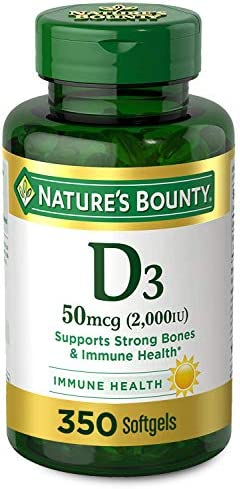 Vitamin D via Nature's Bounty for Immune Support. Vitamin D Provides Immune Support and Promotes Healthy Bones. 2000IU, 350 Softgels