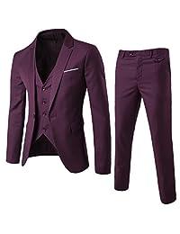 Fashionmy Men's Suits 3 Piece Slim Fit Wedding Bridegroom Suit Casual