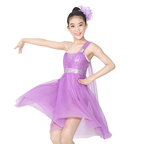 MiDee Tulle Athletic Dance Dresses Costume for Girl's Camisole Sequined Tops High-low Skirt (LC, Lilac)