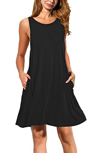 Auselily Women's Pockets Casual Swing T-shirt Dresses