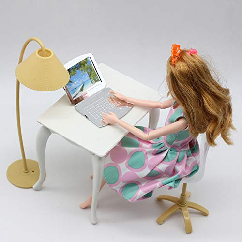 GSPet Desk Laptop Lamp Chair Furniture Accessories for Barbie Dollhouse Kids Girl Toy - Random Color