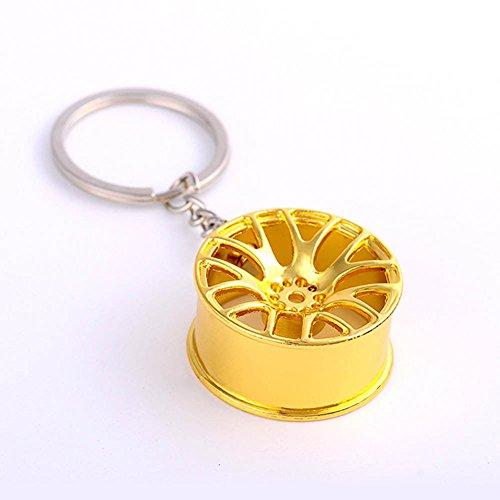 (CqmzpdiC Wheel Shape, Polished Surface, Fashion Fashion Creative Wheel Hub Rim Model Men's Keychain Car Key Chain Keyring Gift - Gold)