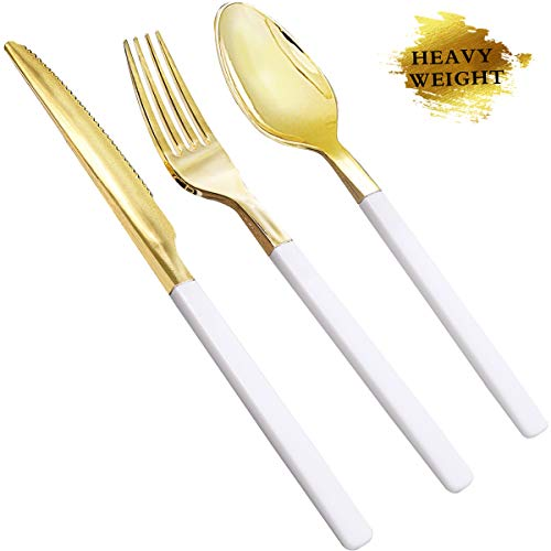 NERVURE 150 Pieces Gold Plastic Silverware,Disposable Plastic Cutlery with White Handle- Include 50 Forks,50 Knives,50 Spoons,Perfect for Parties, Weddings & Catering Events