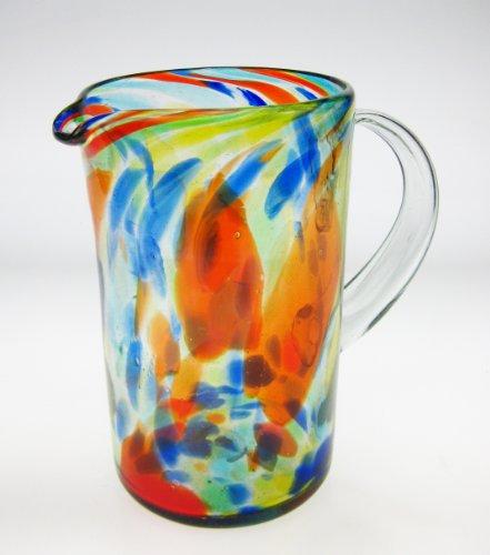 Mexican Glass Margarita or Juice Pitcher, Confetti Swirl Design Straight