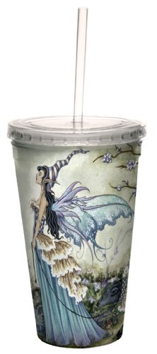 Tree-Free Greetings cc33574 Fantasy Fairy Frillicent and The Bear Artful Traveler Double Walled Cool Cup with Reusable Straw by Amy Brown, 16-Ounce
