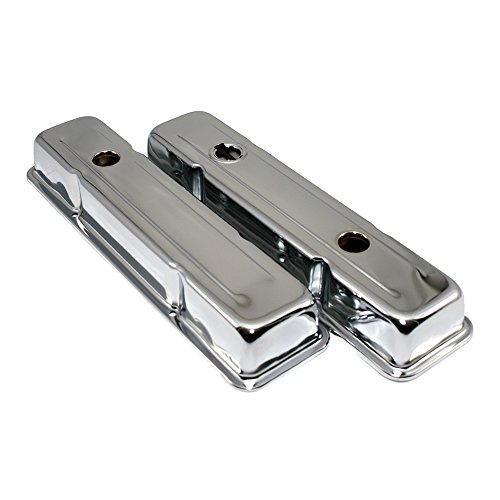 Assault Racing Products A9518 Small Block Chevy Chrome Short Steel Valve Covers with Oil Cap Hole SBC 283 305 327 350 400 (Short Chevy Valve Cover)