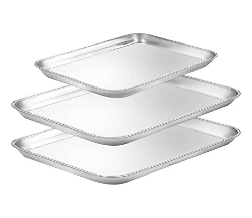 Baking Sheets Set of 3, E-far Stainless Steel Baking Pan Coo