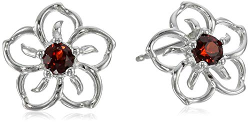 Sterling Silver Garnet Flower Stud Earrings