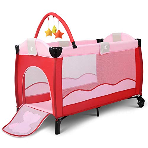 Xnonix New Pink Baby Crib Playpen Playard Pack Travel Infant Bassinet Bed Foldable ()