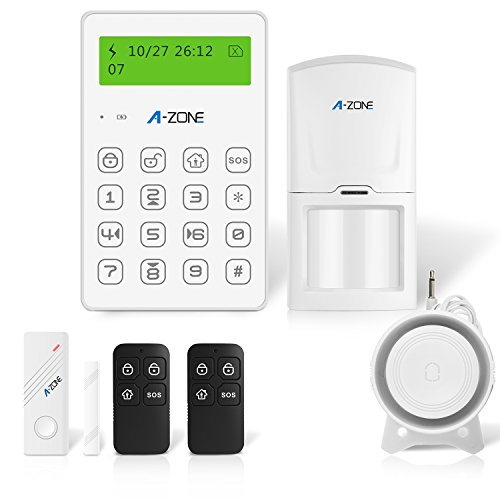 A-ZONE Mini GSM Alarm System Home Security, Wired Siren, Motion Sensors, Door Window Contact Sensor, Remote Controller for Wireless Home & Business Office ()