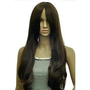 Y&M tipo de moda largo de distribución rizado bang pelucas sintéticas , black
