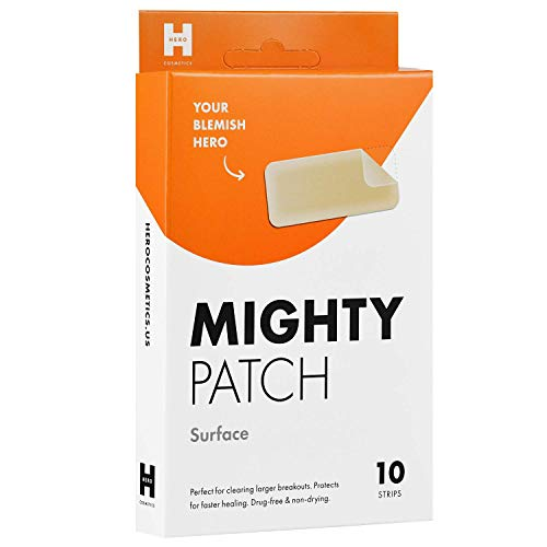 - Mighty Patch Surface - Hydrocolloid Large Acne Pimple Patch Spot Treatment (10 count) for Body and Larger Breakouts on Cheek, Forehead, Chin, Vegan, Cruelty-Free, 50% Better Absorption