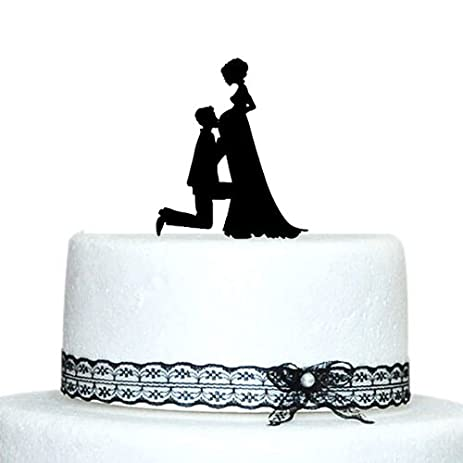 Buythrow Pregnant Bride And Groom Silhouette Wedding Cake Topper Acrylic Funny