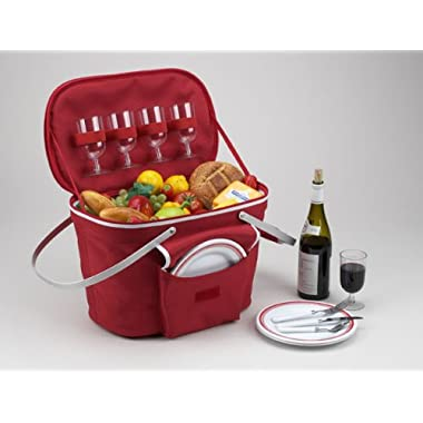 Picnic at Ascot Collapsible Insulated Picnic Basket Equipped with Service For 4 - Red