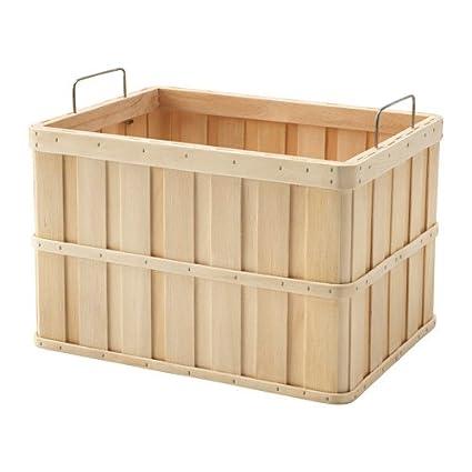 Ikea brankis cesta en color natural; de madera maciza; (36 x 27 x