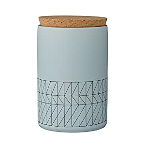 Bloomingville A21100389 Ceramic Carina Jar with Cork Lid, Sky Blue/Black