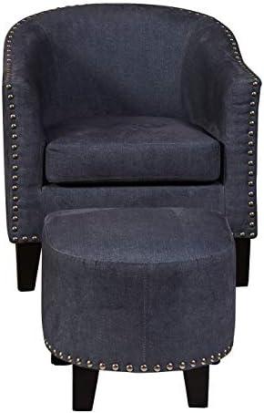 Pulaski Barrel Accent Chair with Ottoman, Nailhead Trim, Denim Fabric