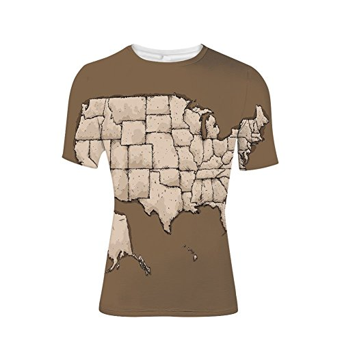 T-Shirt Short Sleeves,American Continent Map with Puzzle Like Fractal,Mens Cool 3D Print (Tin Baseball Puzzle)