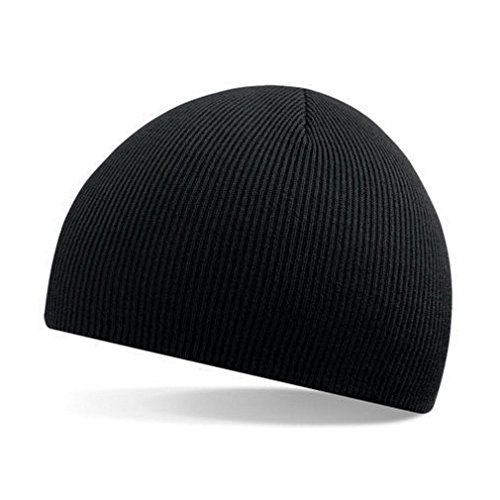 FUNOC Mens Womens Soft Rib Knit Cap Skull Hat Bones Beanie Fit Your Head Perfect (Black)