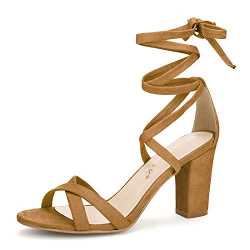 Allegra K Women's Lace-up Brown Heel Sandals - 8.5 M US