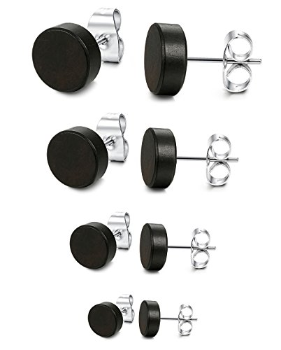 LOYALLOOK 4 Pairs Wood Stud Earrings Stainless Steel Pierced Post Earrring for Mens Womens 6mm-12mm Black (Small Button Earrings)