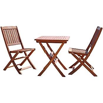 Amazon Com Vifah V03set1 Outdoor Wood 3 Piece Bistro Set