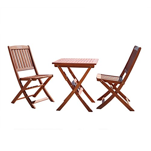 VIFAH V03SET1 Outdoor Wood 3-Piece Bistro Set, Natural Wood Finish, 24 by 24 by 27-Inch (Chairs Wooden Bistro 2 Table Set And)