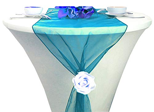 mds Pack of 10 Wedding 12 x 108 inch Organza Table Runners for Wedding Banquet Decor Dining Room Table Runner- Dark Teal ()