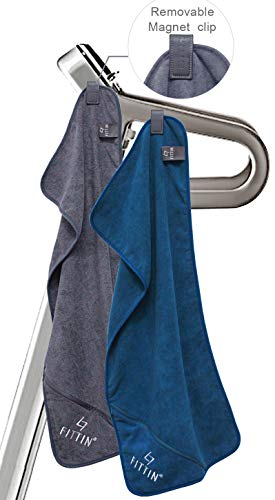 FITTIN Microfiber Gym Towels with Magnet Clip - for Sports Fitness Workout Sweat for Men & Women