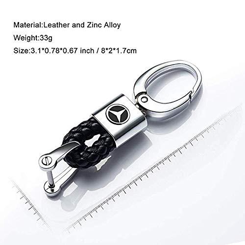 VILLSION 2Pack New Genuine Leather Car Logo Keyring Zinc Alloy Keychain Gift