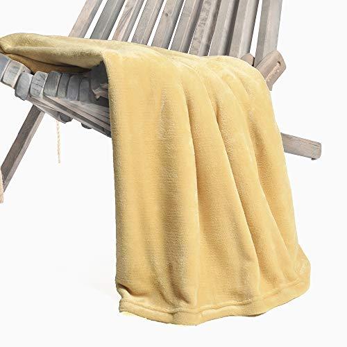 (Battilo Flannel Fleece Luxury Blanket Throw 200 GSM Lightweight Cozy Plush Microfiber Solid Blanket, Ochre)