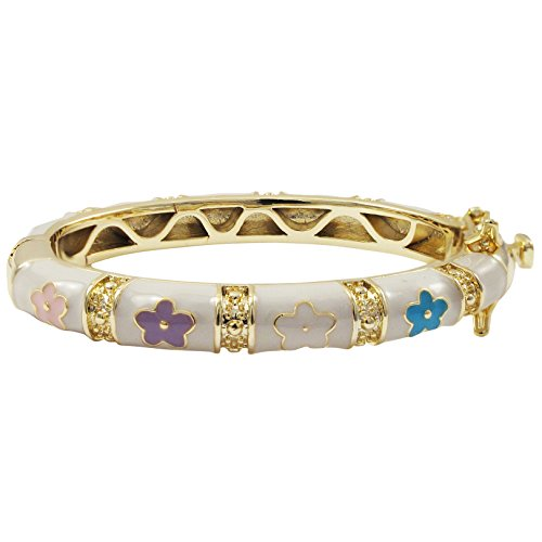 Ivy and Max Gold Finish White Enamel Multi-Color Flowers Girls Bangle Bracelet (35 mm - Age 0-10 Months)