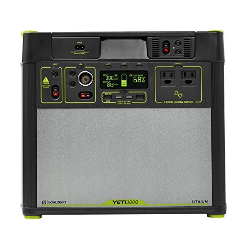 Goal Zero Yeti 3000 Lithium Portable Power Station WiFi Mobile App Enabled, 3024Wh 280Ah Silent Gas Free Generator Alternative with 1500 Watt 3000 Watt Surge AC Inv, USB, USB-C, USB-PD 12V Outputs