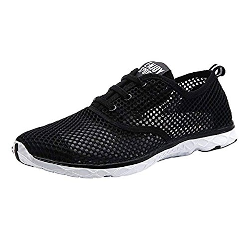 CHNHIRA Men's Women's Breathable Sailing up Beach Water Shoes Quick Dry Aqua Trainers Black Men 2Engn11U