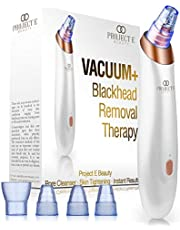 Project E Beauty Vacuum+ Blackhead Removal Therapy   Ultrastrong Suction Facial Acne Whitehead Pimple Pore Nose Skin Peeling Shrink Pores Tightening Extractor Cleanser Device USB 5 Treatment Heads