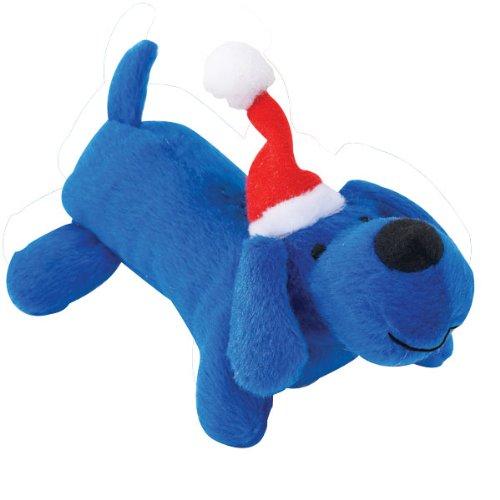 Zanies Plush Santas Lil Yelpers Dog Toy, Blue, My Pet Supplies