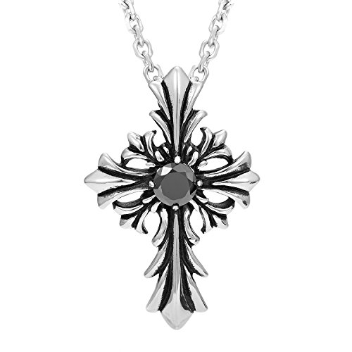 Urban Jewelry Vintage Royalty Celtic Shield Cross Pendant Necklace in Stainless Steel with Cubic ()