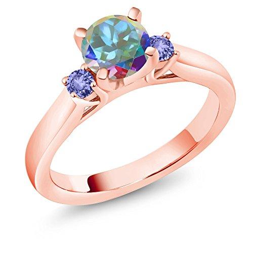 Gem Stone King 1.24 Ct Mercury Mystic Topaz Tanzanite 18K Rose Gold Plated Silver 3-Stone Ring (Size 8)