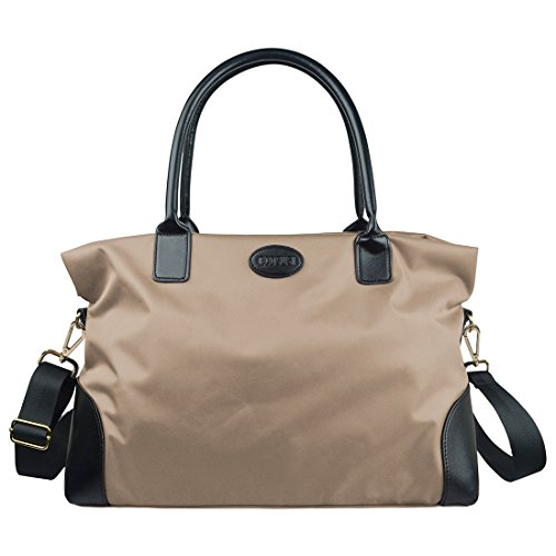 ecosusi-unisex-large-nylon-travel-weekend-shoulder-duffel-bag-gym-totes-in-trolley-handle-beige