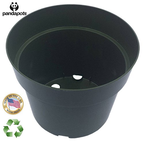 50 Plant Pots - 4 Inch - 100% Recycled Plastic - Made in USA - Strong, Reusable - Panda Pots™ (Green) - Recycled Pot