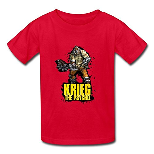 - Causal O-Neck Borderlands 2 Krieg The Psycho Children Boys And Girls T Shirt Red Size XL