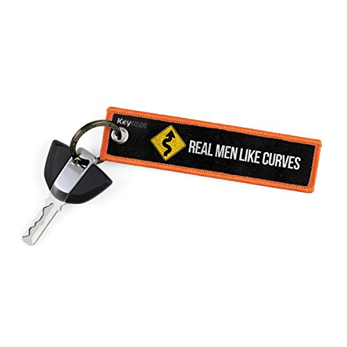 KEYTAILS Keychains, Premium Quality Key Tag for Motorcycle, Car, Scooter, ATV, UTV [Real Men Like Curves] (Best Quality Motorcycle Chain)