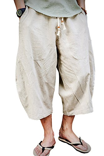 FASKUNOIE Men's Patchwork Shorts Harem Capri Pants Relax Fit Short Pants for Big and Tall Beige