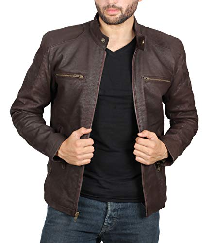 [1100294] Distressed Brown Leather Jacket Mens - Lambskin Leather Jackets | Rogrs, L