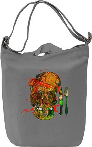 Skull Breakfast Borsa Giornaliera Canvas Canvas Day Bag| 100% Premium Cotton Canvas| DTG Printing|