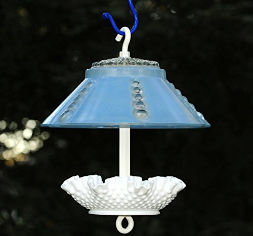 Covered bird feeder in blue and white with hobnail accents by Stella Erwin's